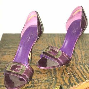 GUCCI purple vernice glitter pumps
